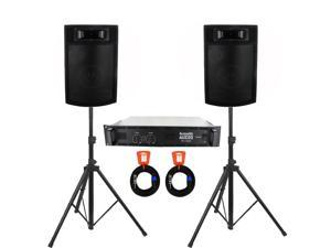 "Acoustic Audio PA365X Speakers, Amp, Stands and Cables 1000 Watts 6.5"" 3-Way PA DJ Studio PA-365X-PK4"