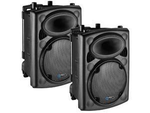 Technical Pro VORTEX12 Passive DJ 2-Way Speaker Pair ABS Plastic with Trolley 2400 Watts VORTEX-PR