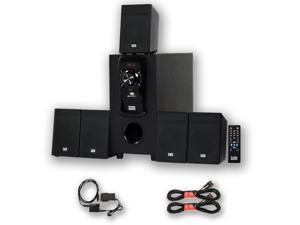 Acoustic Audio AA5150 Home 5.1 FM Speaker System with Optical Input and 2 Ext. Cables AA5101D-2