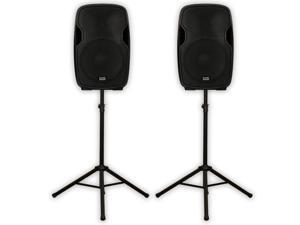 "Acoustic Audio AA15U Powered 15"" Speaker Pair 2000 Watts 2 Way USB MP3 Players and Stands AA15U-PK2"