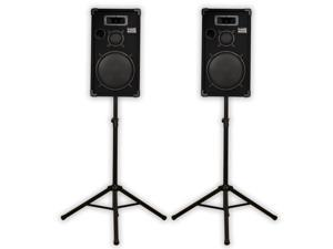 "Acoustic Audio CR12 PA Karaoke DJ 12"" Speaker Pair 1000 Watts 3 Way with Stands CR12-PK2"