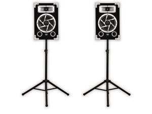 Acoustic Audio GX-450 PA Karaoke DJ Speakers 1400 Watts 2 Way Pair with Stands GX-450-PK2