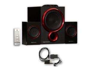 Theater Solutions TS212 Powered 2.1 Home Speaker System 300W with Optical Input TS212D