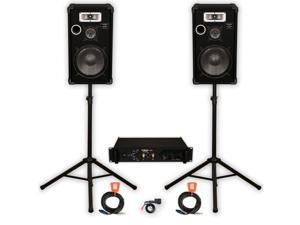 """Podium Pro Deluxe 12"""" Speakers, Amp and Cables Set and Bluetooth for PA DJ Home or Karaoke E1225SET2B"""