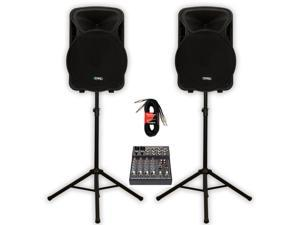 """Technical Pro PVOLT15 Active 3000 Watt 15"""" Speaker Pair with Mixer Cables and Stands PVOLT15-MPK2"""