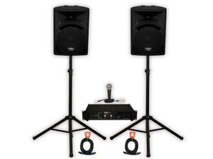 """Podium Pro Studio ABS 12"""" Speakers 2 Way Monitors, Stands, Amp, Cables and Mic for PA DJ Karaoke PP1210SET"""