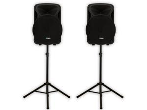 "Technical Pro PVOLT15 Two Way PA DJ 15"" Active 3000 Watt Speaker Pair and Stands PVOLT15-PK2"