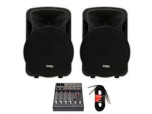 """Technical Pro PVOLT15 PA DJ 15"""" Active 3000 Watt Speaker Pair with Mixer and Cables PVOLT15-MPR"""