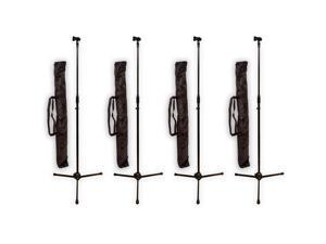Podium Pro MS2 Adjustable Steel Microphone Stands with Stand Bags and Mic Clips 4 Stand Set MS2SET7-4S