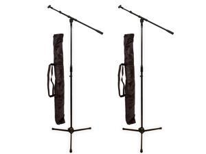 Podium Pro MS2 Adjustable Steel Microphone Stands Booms Clips and Bags 2 Stand Set MS2SET11-2S