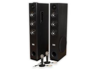 Acoustic Audio TSi450 Bluetooth Powered Floorstanding Tower Home Multimedia Speaker Pair and Mics TSi450M2