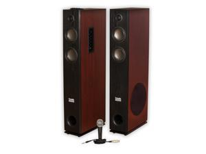 Acoustic Audio TSi600 Bluetooth Powered Floorstanding Tower Multimedia Speakers with Mic TSi600M1
