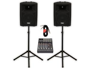 """Podium Pro Audio PP1007A Bluetooth 10"""" Active Speakers Mixer Stands and Cables MP3 1000W PP1007ASET4"""