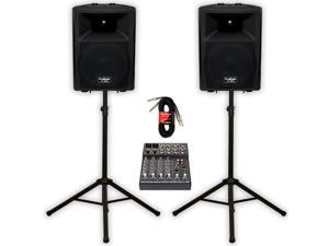 """Podium Pro Audio PP1207A Bluetooth 12"""" Active Speakers Mixer Stands and Cables 1200W MP3 PP1207ASET4"""
