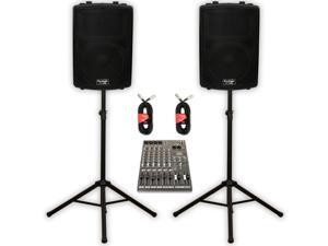 """Podium Pro PP1202A Powered 12"""" PA DJ Speaker Pair with 12 Channel Mixer Stands and Cables"""