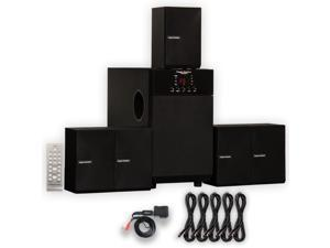 Theater Solutions TS509 Home Theater 5.1 Speaker Surround System with Bluetooth and 5 Extension Cables