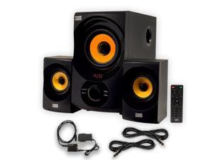 Acoustic Audio AA2170 Home 2.1 Speaker System with Optical Input FM Tuner USB and 2 Extension Cables