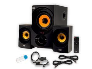 Acoustic Audio AA2170 Home 2.1 Speaker System with Bluetooth Optical Input FM USB and 2 Extension Cables