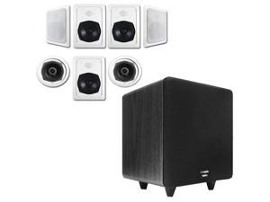 """Acoustic Audio HT-57 In-Wall/Ceiling 7.1 Home Theater Speakers and 12"""" Powered Sub HT-57-CS12B"""