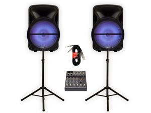 """Technical Pro PVOLT15LBT Bluetooth 15"""" Powered Speakers with LED Lights Mixer Stands and Cables"""