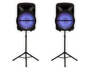 """Technical Pro PVOLT15LBT Bluetooth 15"""" Powered Speaker Pair USB / SD Players with LED Lights and Stands"""