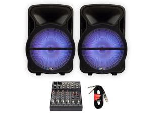"""Technical Pro PVOLT15LBT Bluetooth 15"""" Powered Speakers with LED Lights Mixer and Cables"""