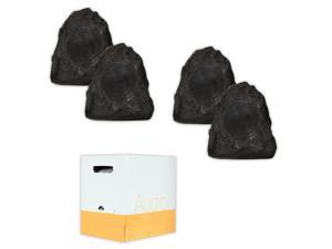 Acoustic Audio G4RS Granite Rock Speakers 2 Pair Pack and Wire Outdoor Weatherproof