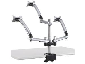 Cotytech Triple Apple Desk Mount Spring Arm 19.7-in Pole Grommet Base - Silver