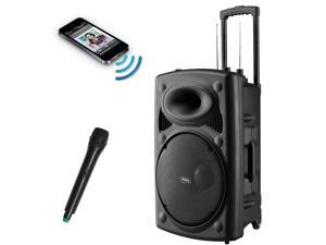 Frisby FS-4060P Portable Rechargeable Bluetooth Karaoke Party Machine PA Speaker System w/ Telescoping Handle & Wheels & Wireless Microphone Echo & AM/FM Radio & USB & SD Slots