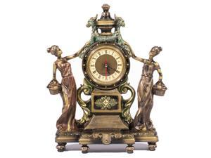 Victorian Style Clock Statue Figurine in Home Decor, Desk Clock Statue Figurine w/ Bronze Finish, Clock Sculptures Figurines and Office Gifts