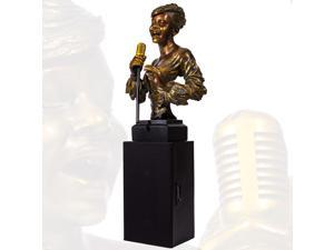 Rock & Roll Vintage 1950s Era Singing Lady Rechargeable Bluetooth Speaker Statue Figurine Bust w/ SD USB Radio & Remote Control