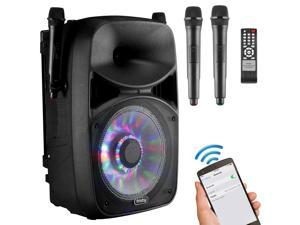 Frisby FS-4065PA Bluetooth Karaoke Machine PA System w/ 2x Wireless Microphones SD/USB Player, FM Tuner & DJ LED Flashing Party Lights