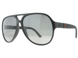 Gucci GG 1065/S 4UP/WJ Matte Black/Red/Green Polarized Aviator Sunglasses