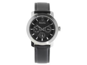 BULOVA Men's Black Chronograph Leather Strap Watch Model 96C111