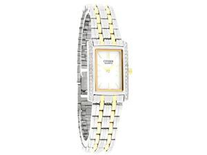 Citizen Quartz Ladies Crystal Bezel Mop Dial Two Tone Dress Watch EK1124-54D
