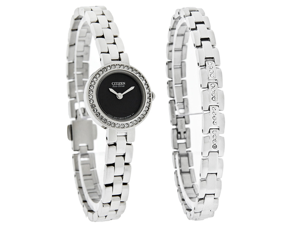 Citizen Eco-Drive Ladies Crystal Element Bracelet Watch Set EX1080-64E