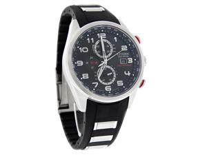 Citizen Eco-Drive Mens Le World Time Chronograph Black Rubber Watch AT8030-00E