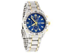 Citizen Quartz Chronograph Mens Blue Dial Two Tone Watch AN3394-59L