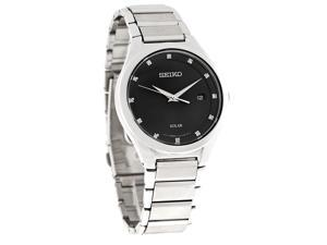 Seiko Solar Mens Diamond Black Dial Stainless Steel Bracelet Dress Watch SNE249