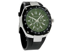 Structure by Surface Mens Black/Green 3-Eye Sub-Dial Rubber Strap Watch 32480