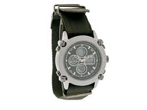 Structure Mens Digital Alarm Quartz Chrono Gray Nylon Band Watch 32484