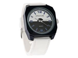 Structure By Surface Mens Sport Charcoal Case White Rubber Quartz Watch 32799