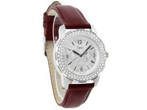Timex Starlight Collection Ladies Crystal Floral Brown Strap Quartz Watch T2P399