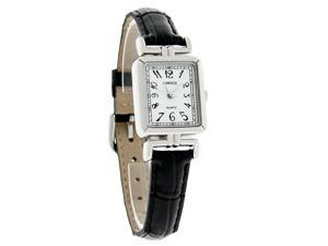 Carriage by Timex Ladies White Dial Black Leather Band Quartz Watch C2A901 New