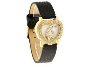 Mother & Child by Janel Russell Crystal Heart MOP Dial Black Band Watch MC-101SY
