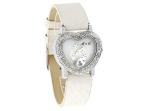 Mother & Child by Janel Russell Crystal Heart MOP Dial White Band Watch MC-101S