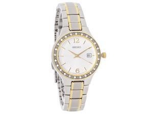 Seiko SUR752 Quartz Ladies' Crystal Bezel Silver Dial Two Tone Bracelet Watch