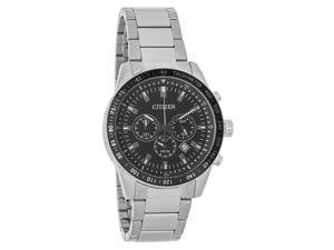Citizen Quartz Mens Black Dial Stainless Steel Chronograph Watch AN8071-51E
