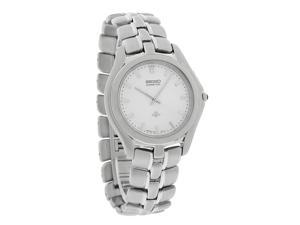 Seiko Kinetic Thinline Mens Silver Dial Stainless Steel Bracelet Watch SLB001