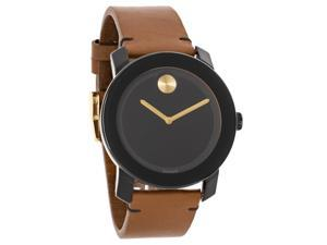 Movado Bold Series Mens Brown Leather Strap Swiss Quartz Watch 3600305